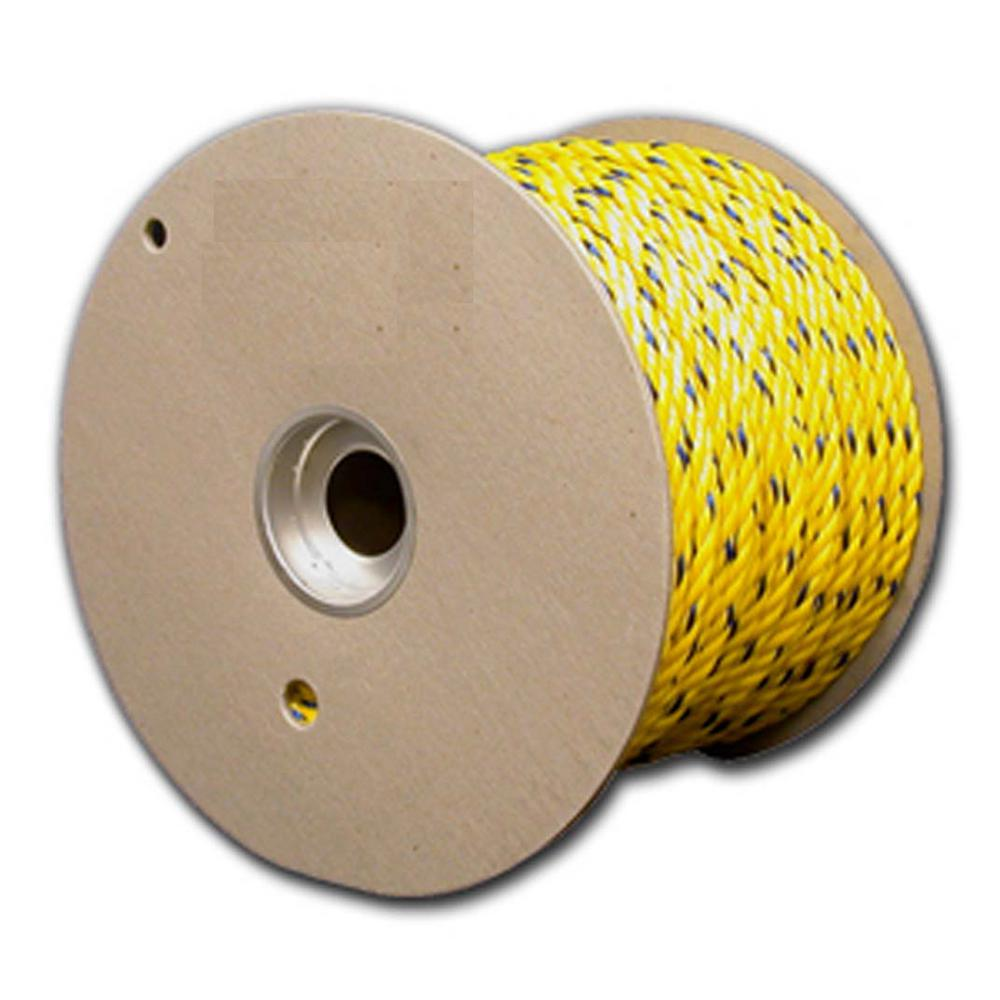 3/8 in. x 600 ft. Twisted Polypropylene Rope Reel, Yellow...