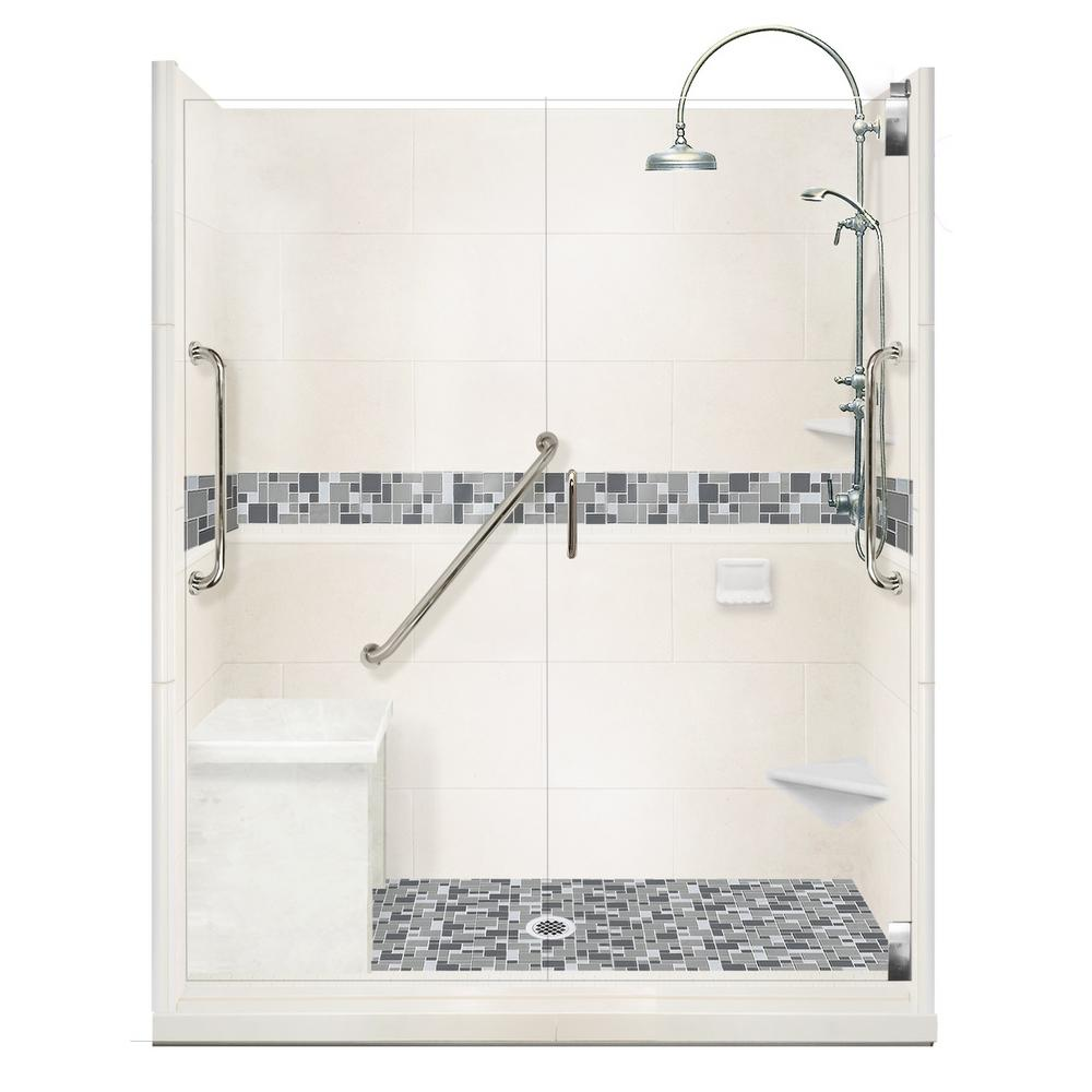 American Bath Factory Newport Freedom Luxe Hinged 42 in. x 60 in. Center Drain Alcove Shower in Natural Buff and Satin Nickel Faucet/Hardware
