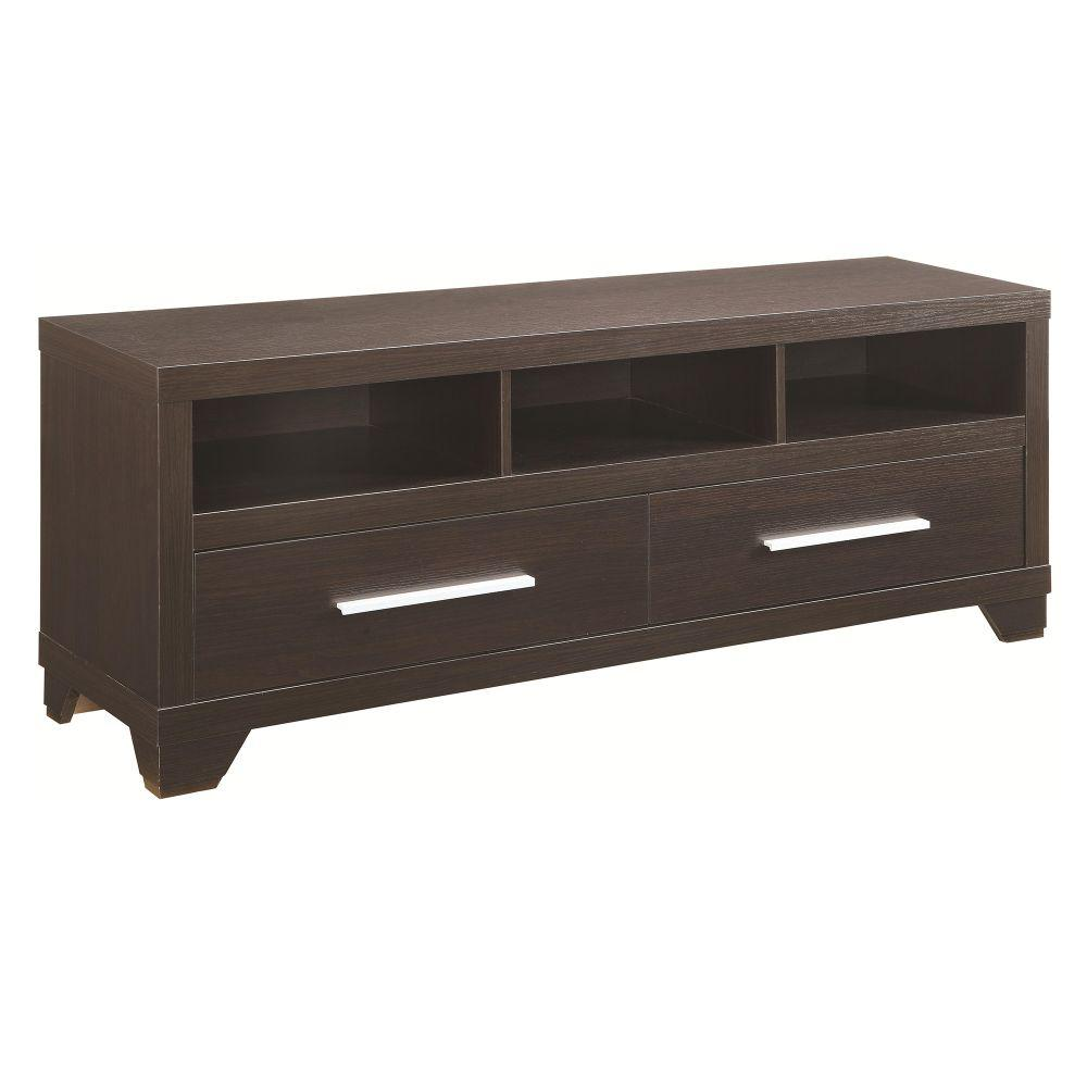 Benjara 60 in. Cappuccino Brown Engineered Wood TV Console with 2 Drawer Fits TVs Up to 60 in. with Built-In Storage Urbane and smart this sleek wooden TV console is contemporary and apt addition for your modern settings. Now you can display your TV, its accessories and decor items with style along with attractive photo frames and attractive home accents. It features nice Cappuccino brown finish frame with 2 drawers and 3 compartmental shelves for TV accessories and essentials. You can exhibit entertainment accessories and prized possessions with pride in this stylish console uplifting your interiors in modish way.