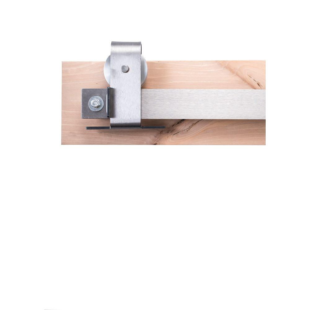 Rustica Hardware 84 In Brushed Steel Sliding Barn Door Hardware Kit