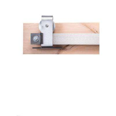 84 in. Brushed Steel Sliding Barn Door Hardware Kit with Top Mount Industrial Hangers and Industrial Pull