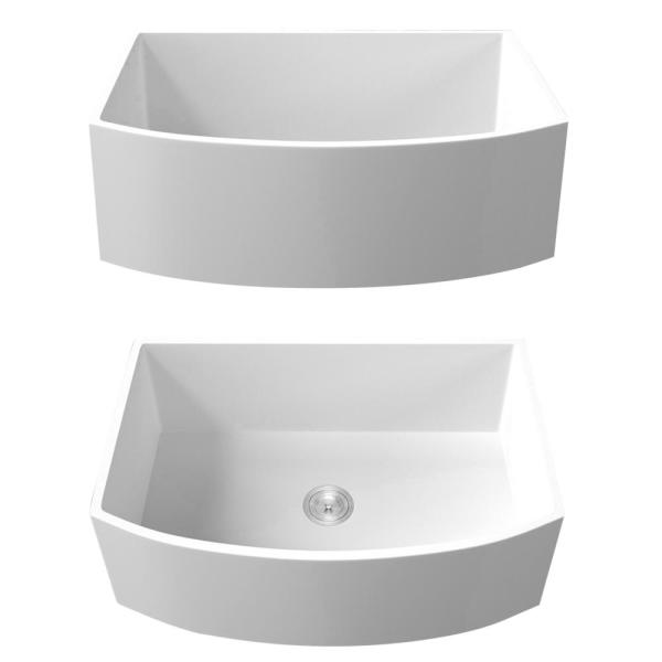 Star X Decor White Fireclay 33 In Single Bowl Farmhouse Apron Front Workstation Porcelain Ceramic Kitchen Sink With Bottom Grid Skslh31025fc The Home Depot