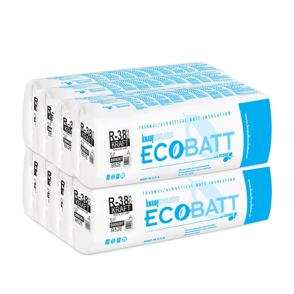 Knauf Insulation R 38 Ecobatt Kraft Faced High Density Fiberglass Insulation Batt 10 1 4 In X 23 In X 48 In 8 Bags 691003 The Home Depot