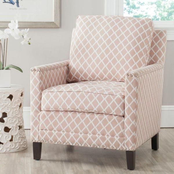 Safavieh Buckler Peach Pink & White Bicast Leather Arm Chair MCR4613B