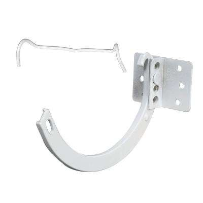 6 in. Hi-Gloss White Aluminum Half-Round Hanger #10 Combination Circle and Shank with Spring Clip
