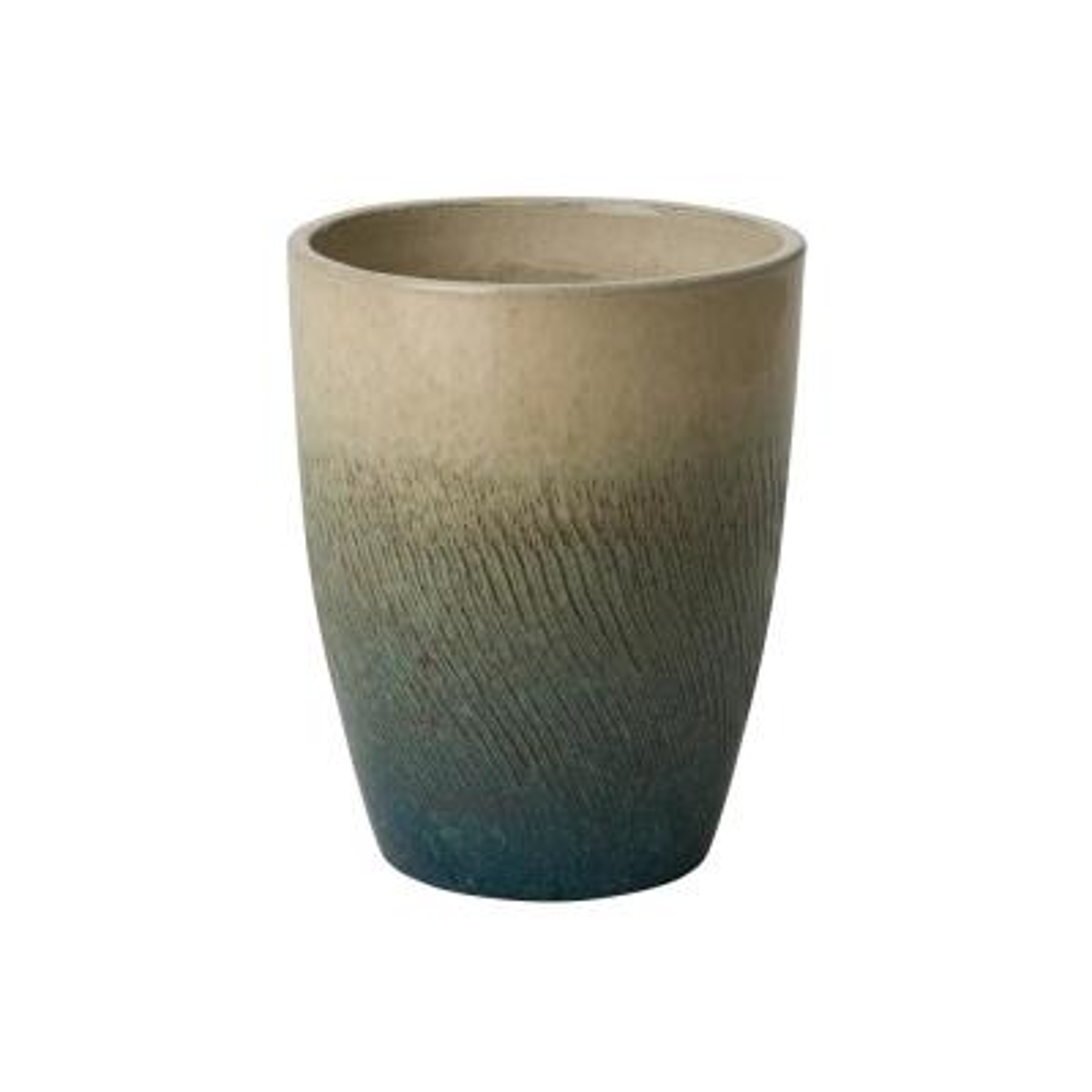 Bullet 14 in. Bayside Green Ceramic Round Planter