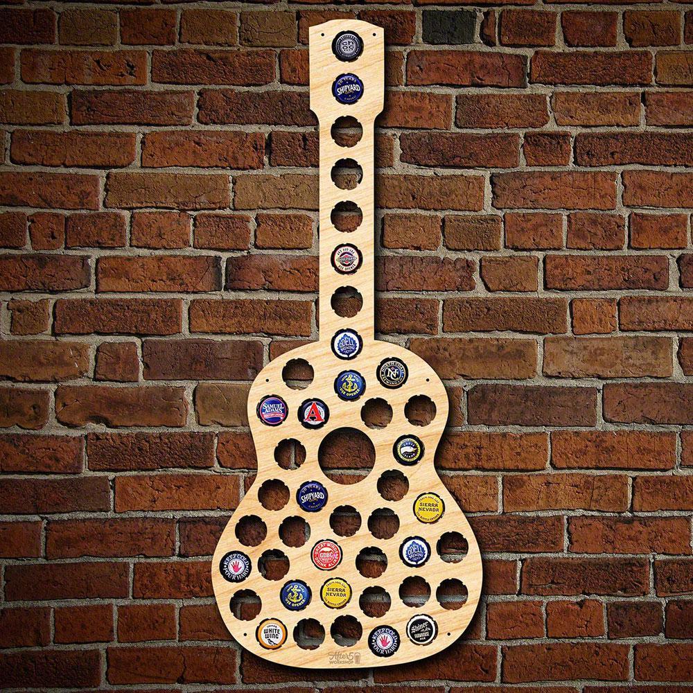 23 in. x 10 in. Wooden Guitar Beer Cap Map