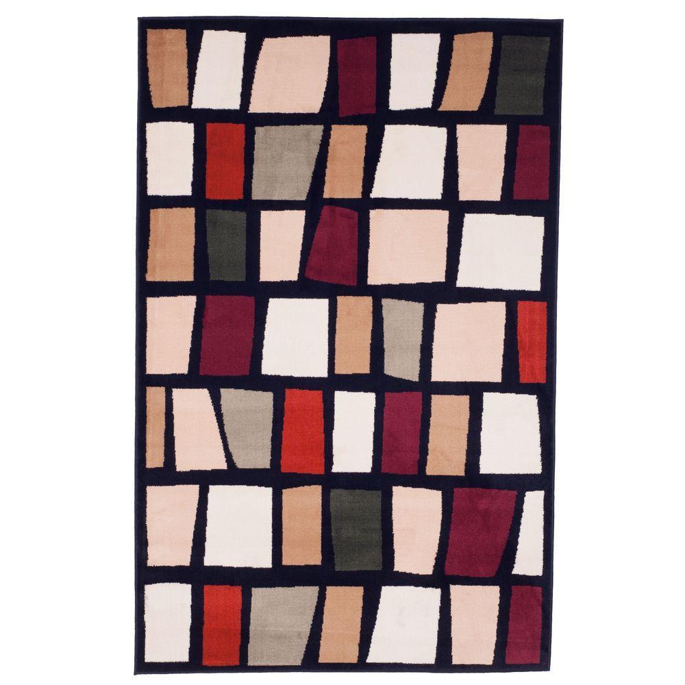 Color Blocks Black 5 ft. x 7 ft. 7 in. Area