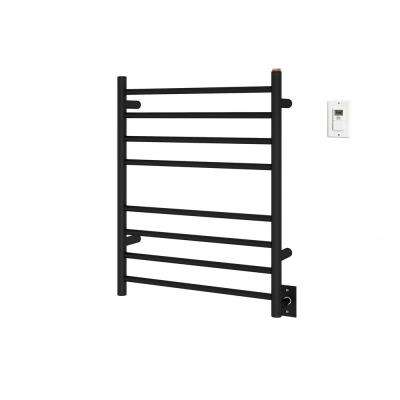 Prestige Dual 8-Bar Hardwired and Plug-in Towel Warmer in Matte Black Stainless Steel with Timer