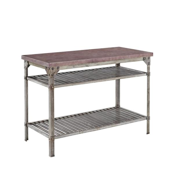 Home Styles Urban Style Aged Rust Kitchen Utility Table with Concrete