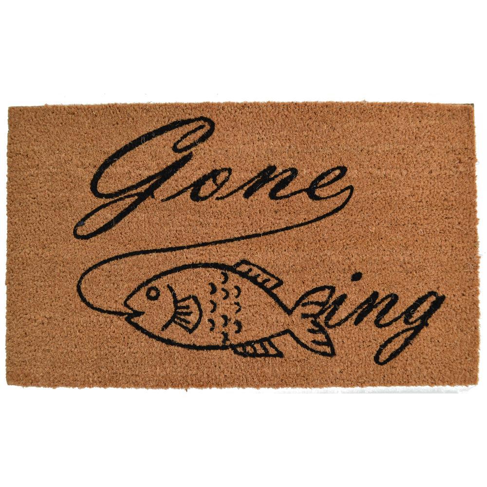 Vinyl Back Mat Gone Fishing 30 in. x 18 in. Coir Door Mat