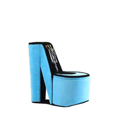 9 in. High Heel Shoe Display with Hooks Turquoise Velvet Jewelry Box