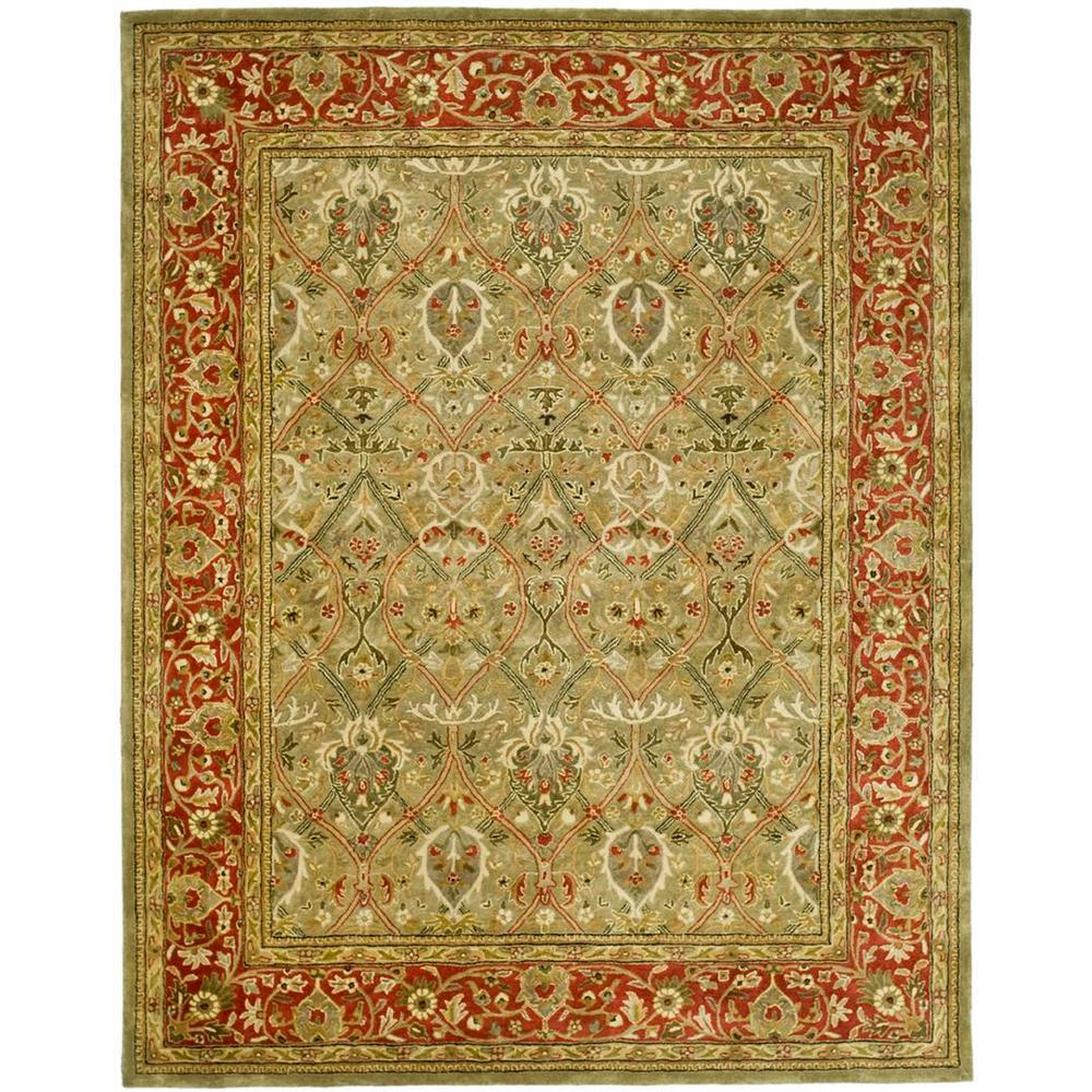 6 X9 Handmade Persian Wool Silk Area Rug Oriental Design: Safavieh Persian Legend Light Green/Rust 7 Ft. 6 In. X 9