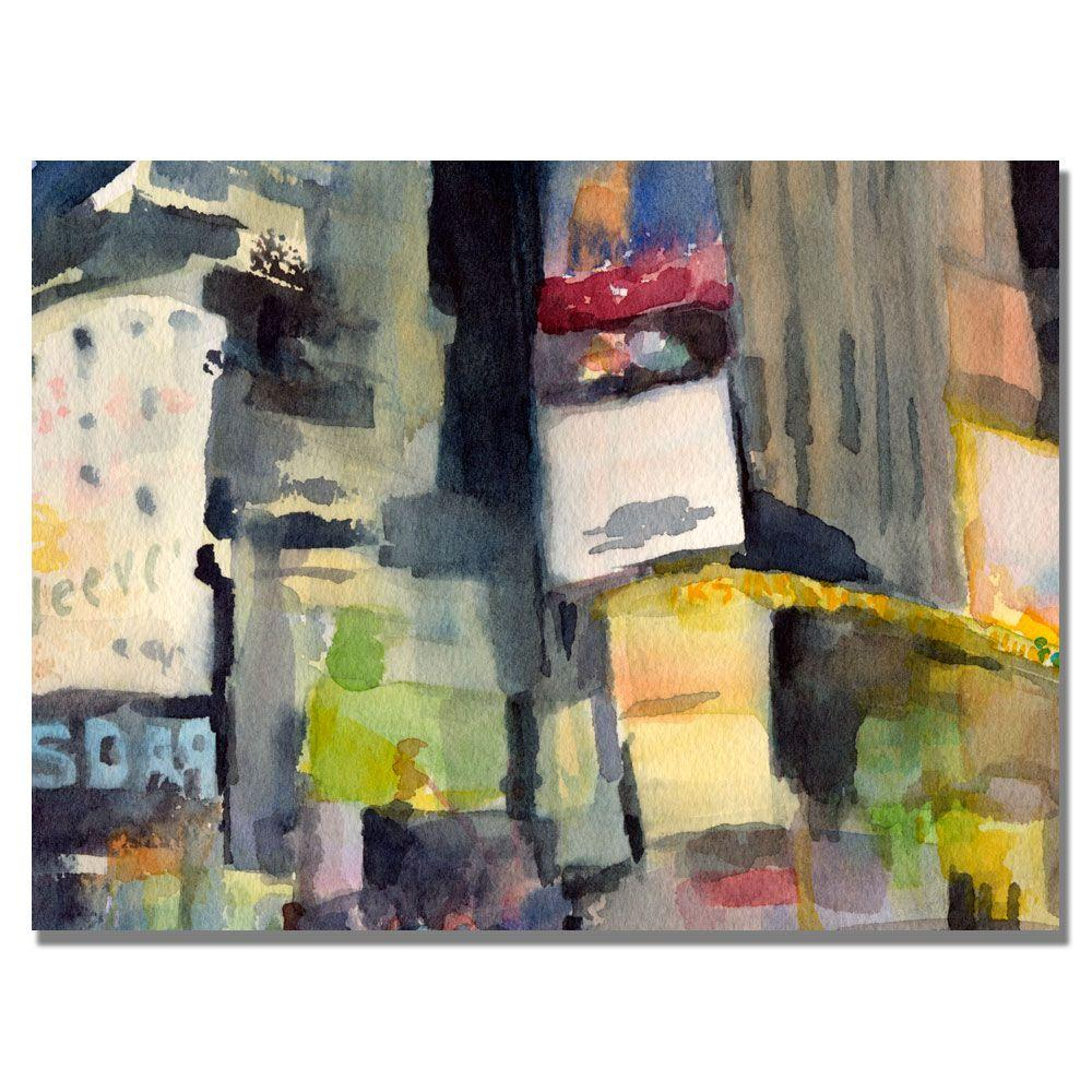 Trademark Fine Art 35 in. x 47 in. Time Sqaure at Night Canvas Art-DISCONTINUED