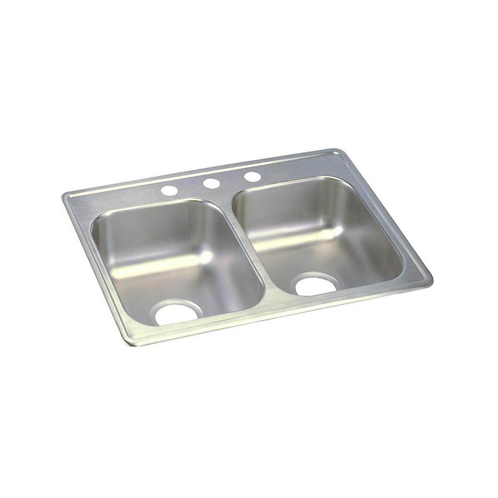 Elkay Dayton Drop In Stainless Steel 25 In. 3 Hole Double Bowl Kitchen