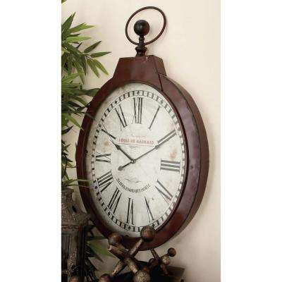 34 in. x 21 in. French Inspired Antique Reproduction Style Oval Wall Clock