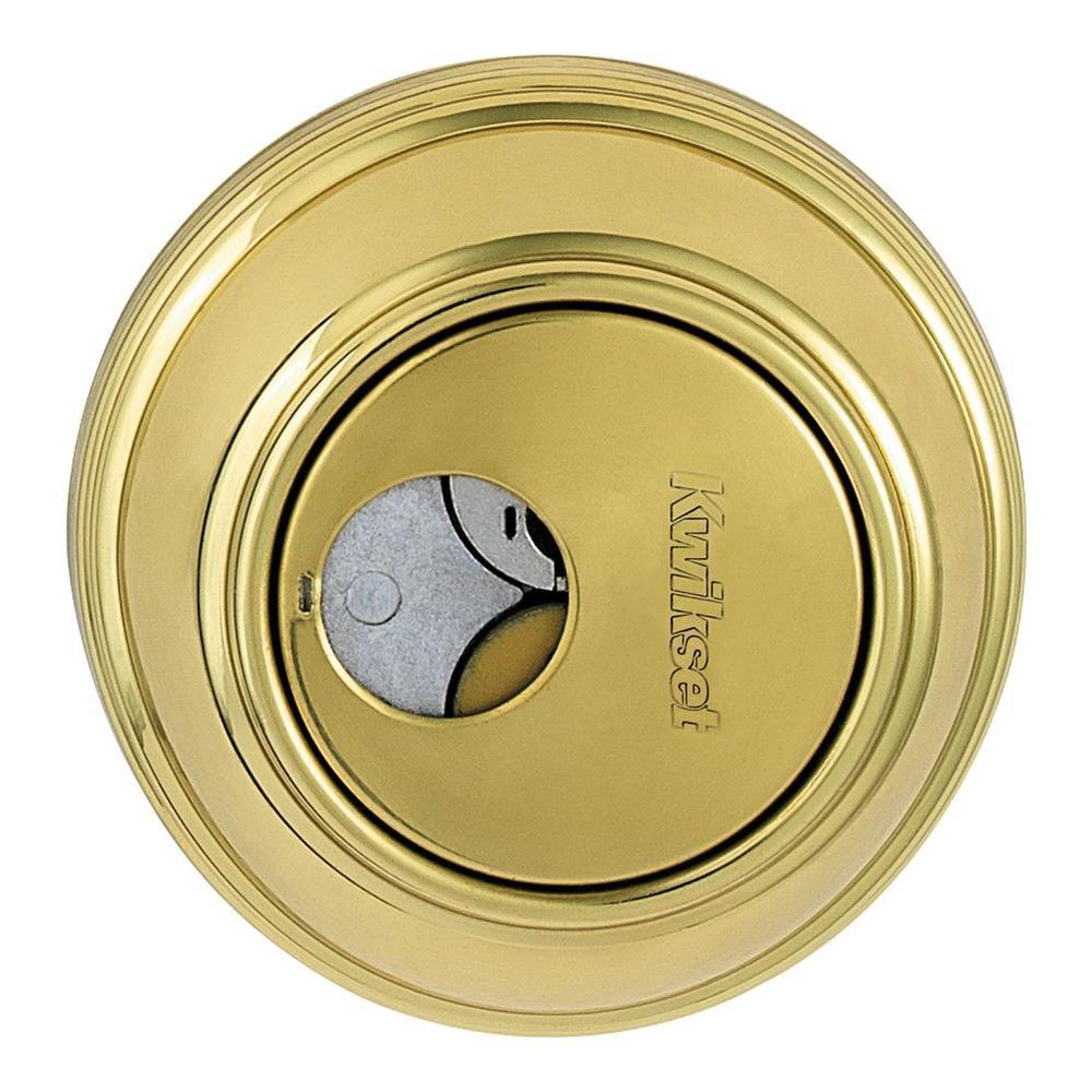 Kwikset 816 Series Single Cylinder Polished Brass Key Control Deadbolt featuring SmartKey