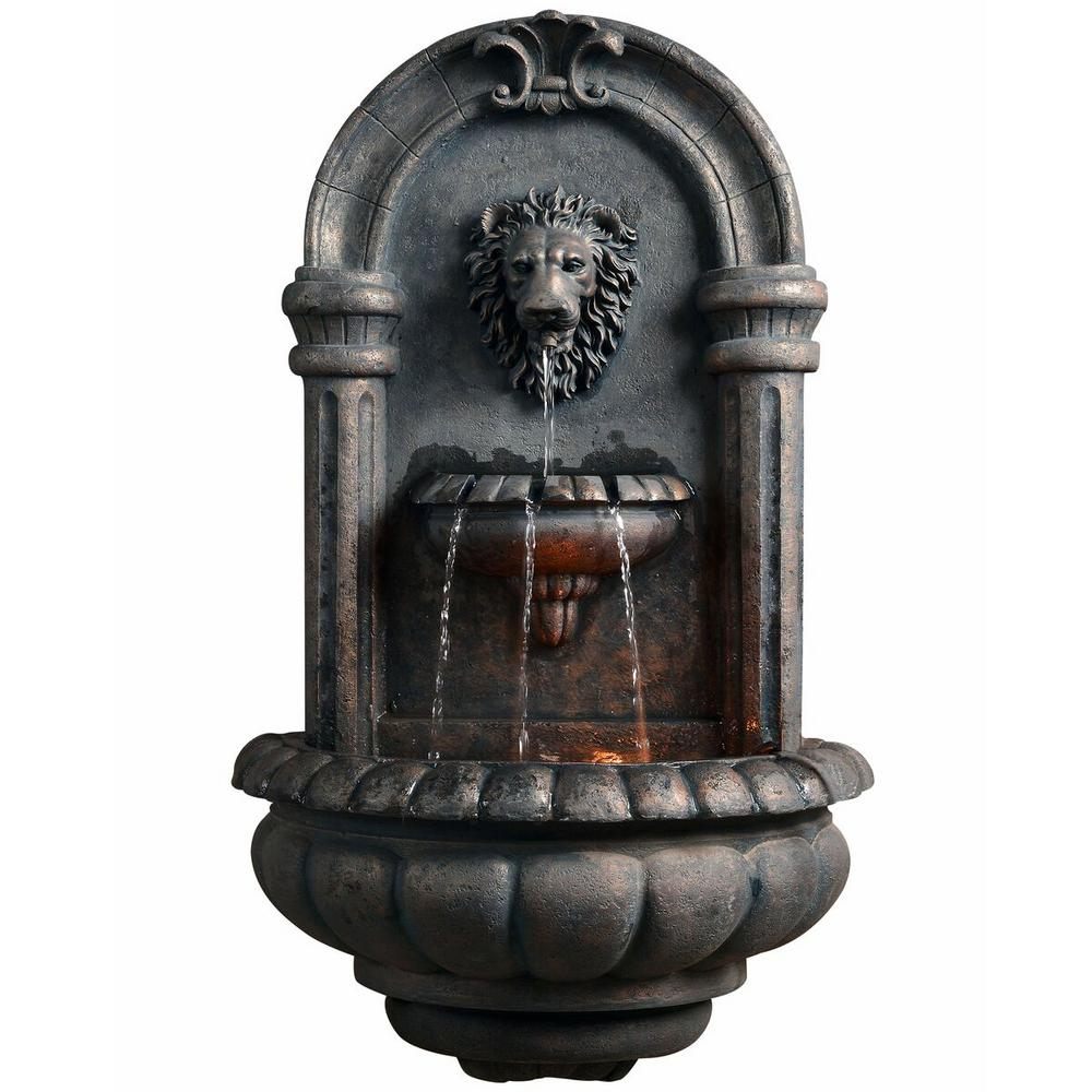 Peaktop Outdoor Royal Lion Head Wallfall Fountain with LED Light