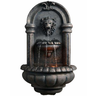 Outdoor Royal Lion Head Wallfall Fountain with LED Light