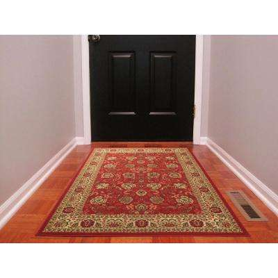 Ottohome Collection Traditional Floral Design Dark Red 3 ft. x 5 ft.  Area Rug