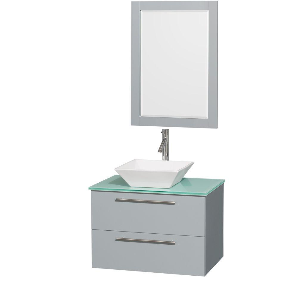 Wyndham Collection Amare 30 in. W x 20.5 in. D Vanity in Dove Gray with Glass Vanity Top in Green with White Basin and 24 in. Mirror