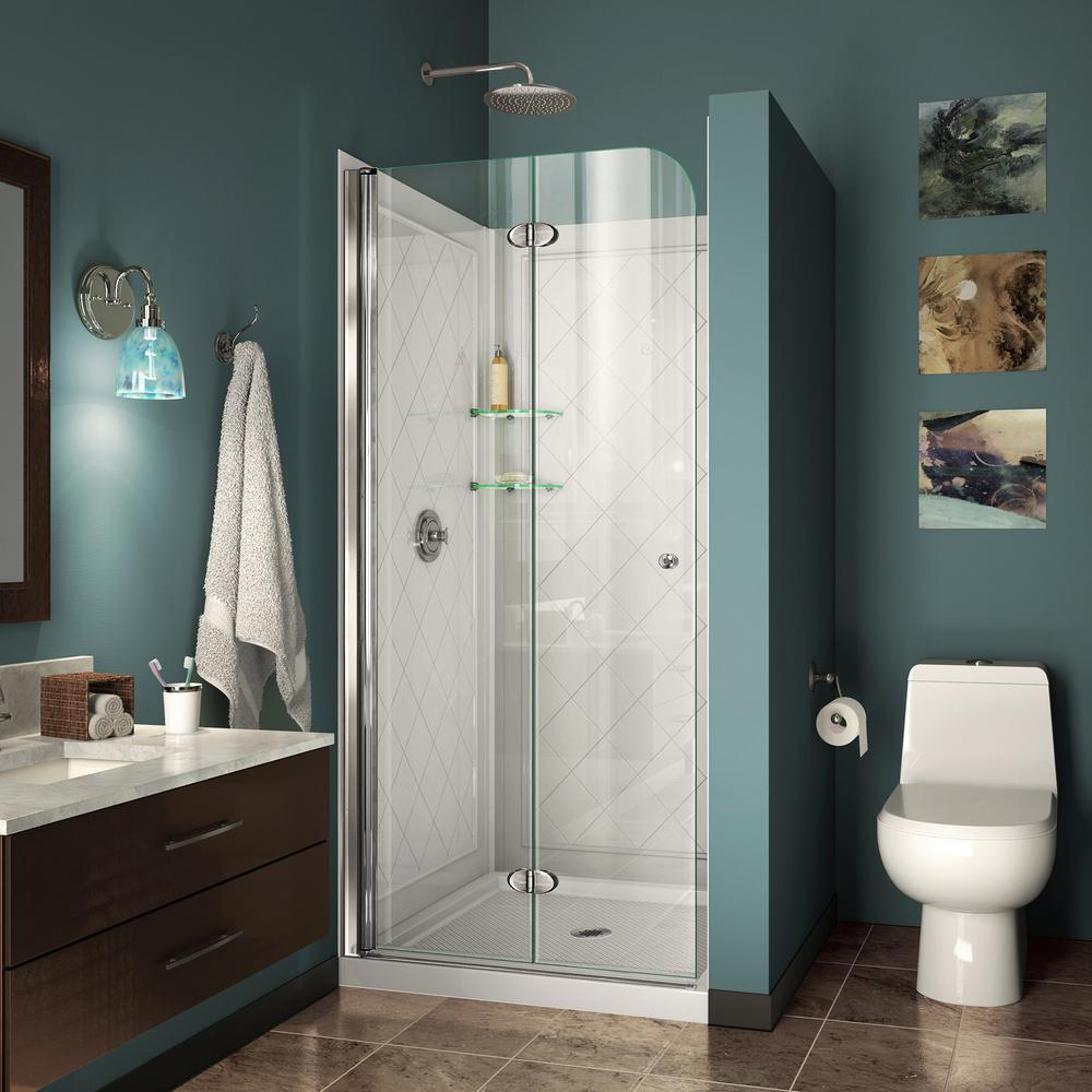 DreamLine Aqua Fold 32 in. D x 32 in. W x 76 3/4 in. H Frameless Shower Door in Chrome with Base and Backwalls