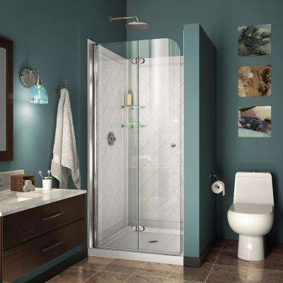Aqua Fold 32 in. D x 32 in. W x 76 3/4 in. H Frameless Shower Door in Chrome with Base and Backwalls