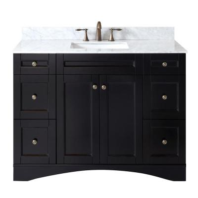 Elise 49 in. W Bath Vanity in Espresso with Marble Vanity Top in White with Square Basin