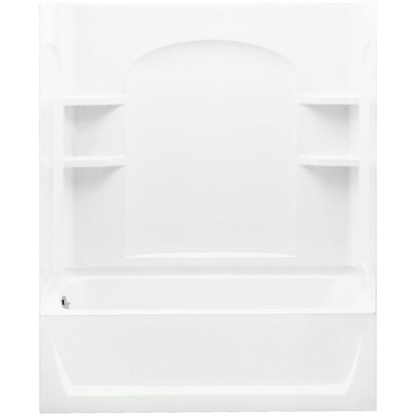 Ensemble 32 in. x 60 in. x 77-1/4 in. Bath and Shower Kit Left Drain in White with Above-Floor Drain and Backer Boards