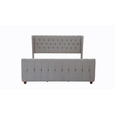 David Silver Grey King Upholstered Bed
