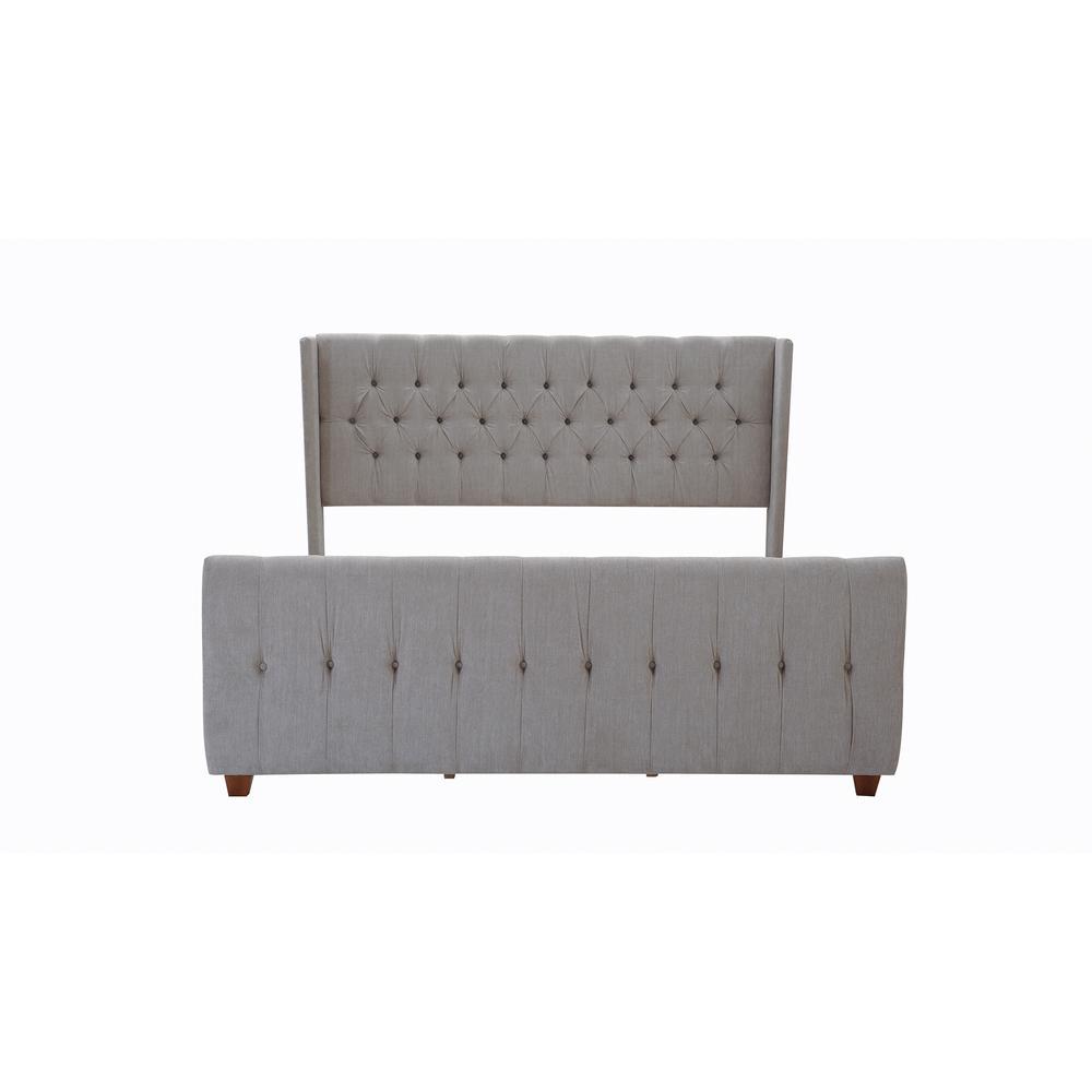 David Silver Grey King Upholstered Bed