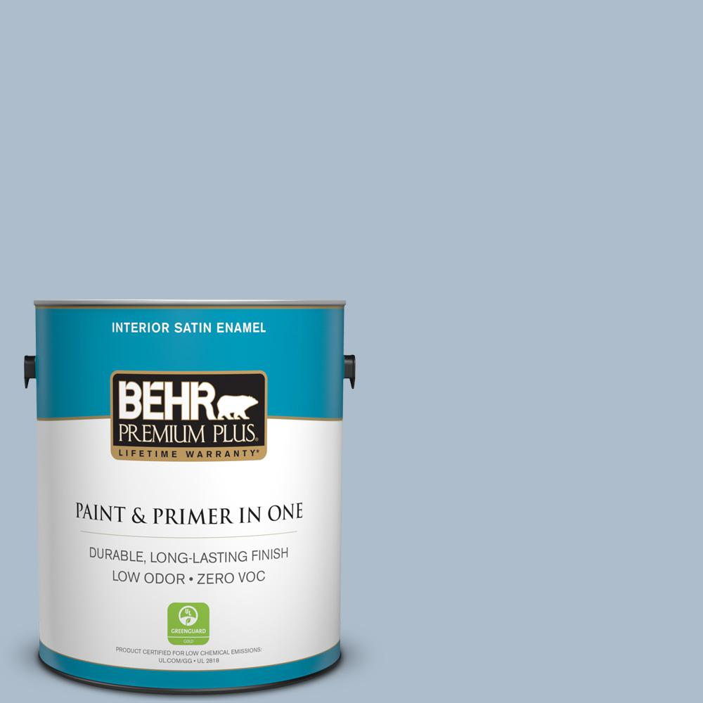 BEHR Premium Plus 1-gal. #570E-3 Liberty Gray Zero VOC Satin Enamel Interior Paint
