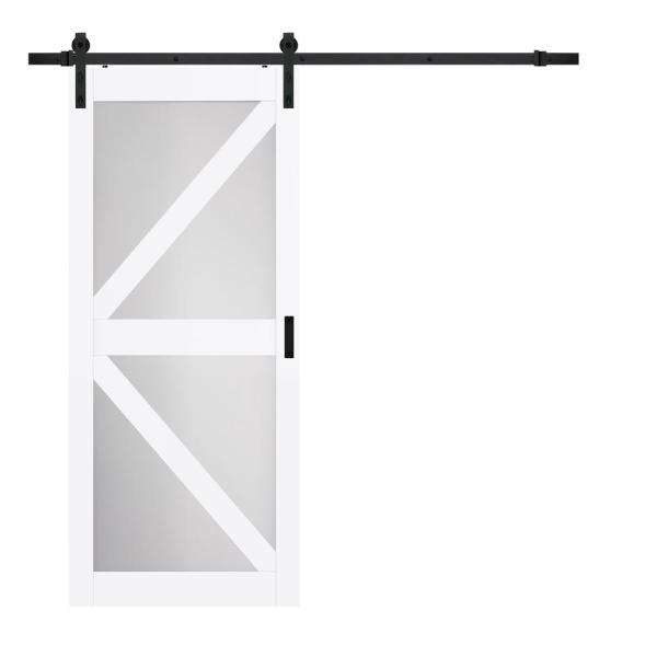 36 in. x 84 in. Bright White MDF Frosted Glass K Design Sliding Barn Door with Rustic Hardware Kit