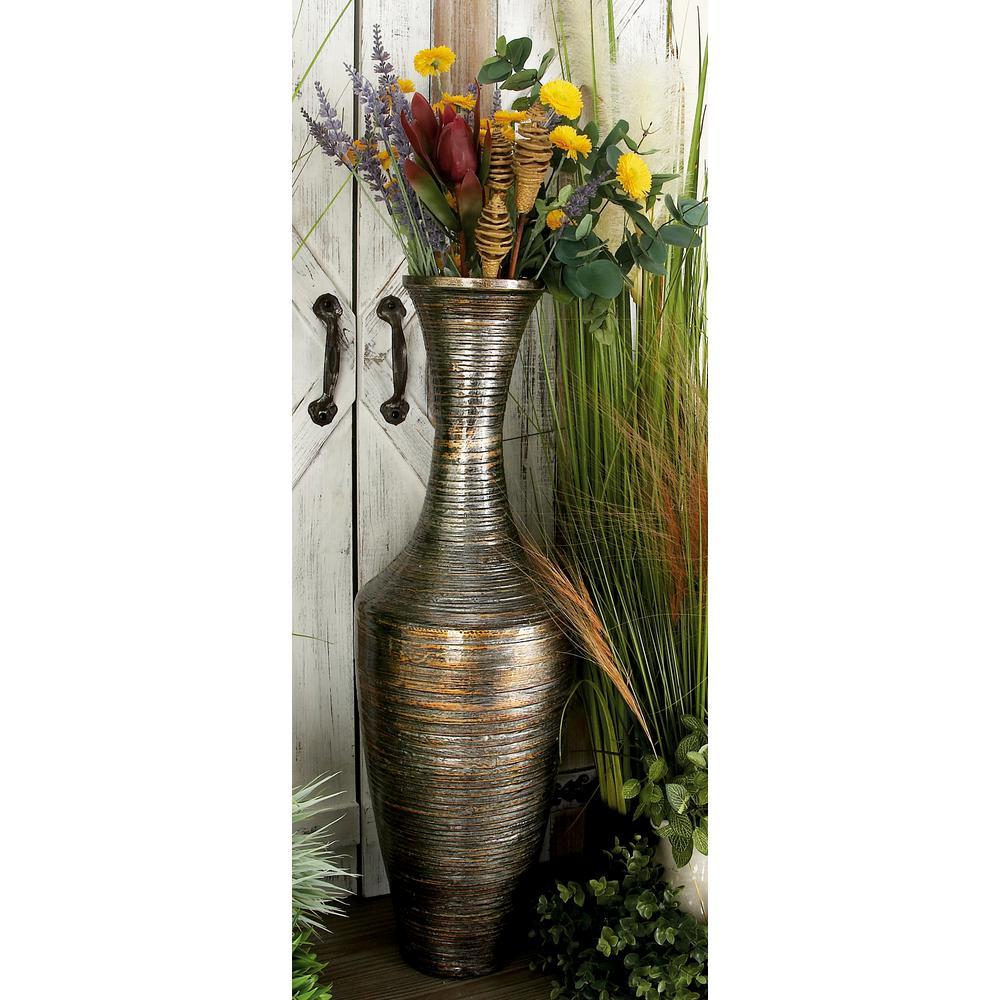 30 in. Globetrotter Mocha Brown Bamboo Decorative Vase