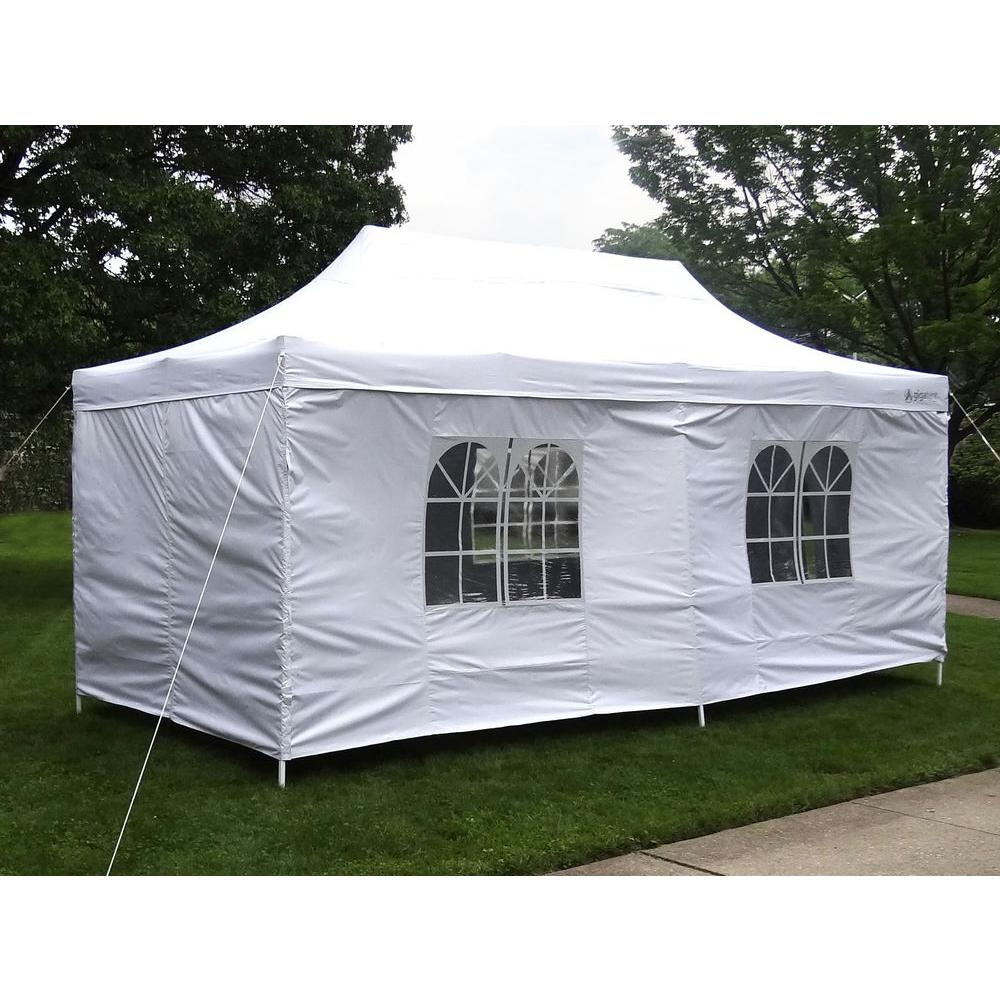 Party Tent Deluxe 10 ft. x 20 ft. Accordion Steel Frame Canopy Window/  sc 1 st  Home Depot : outdoor canopy tents - memphite.com
