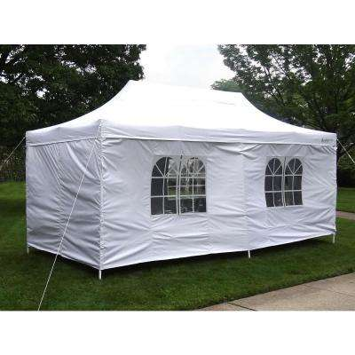 Party Tent Deluxe 10 ft. x 20 ft. Accordion Steel Frame Canopy Window/Door Walls in White