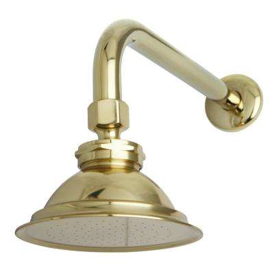 Victorian 1-Spray 5 in. Showerhead with Shower Arm in Polished Brass