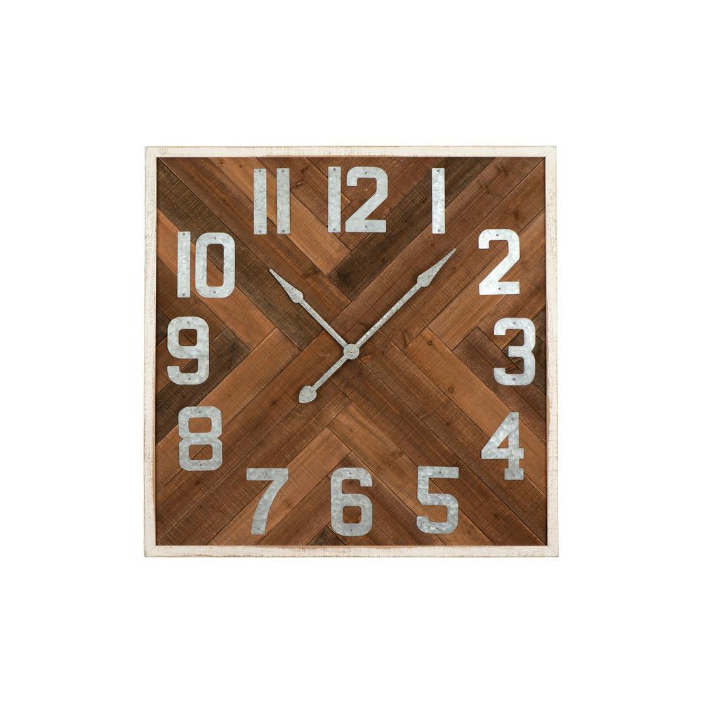 Brown Herringbone Inlay Stained Wood Wall Clock