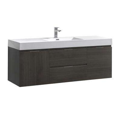 Valencia 60 in. W Wall Hung Bathroom Vanity in Gray Oak, Double Acrylic Vanity Top in White