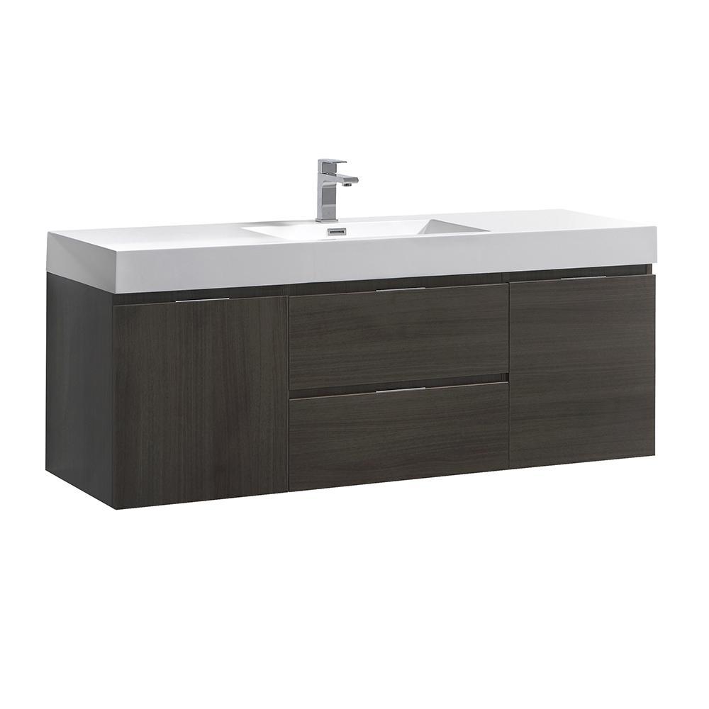 W Wall Hung Bathroom Vanity In Gray Oak Double Acrylic