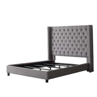 Fairfield Grey Tufted Fabric King Bed with Wings