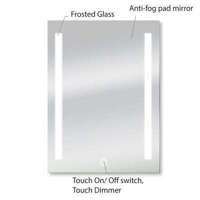Catella 24 in. x 34 in. Single LED Backlit Vanity Bathroom Mirror with Touch On/Off Dimmer and Anti-Fog Function