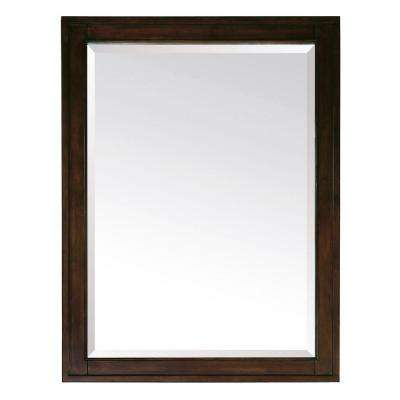 Madison 28 in. x 32 in. Single Beveled Edge Mirror in Light Espresso