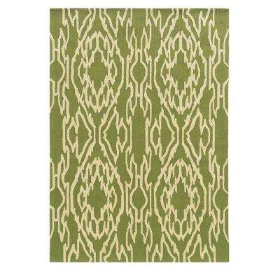 Le Soliel Collection Green and Ivory 8 ft. x 10 ft. Outdoor Area Rug