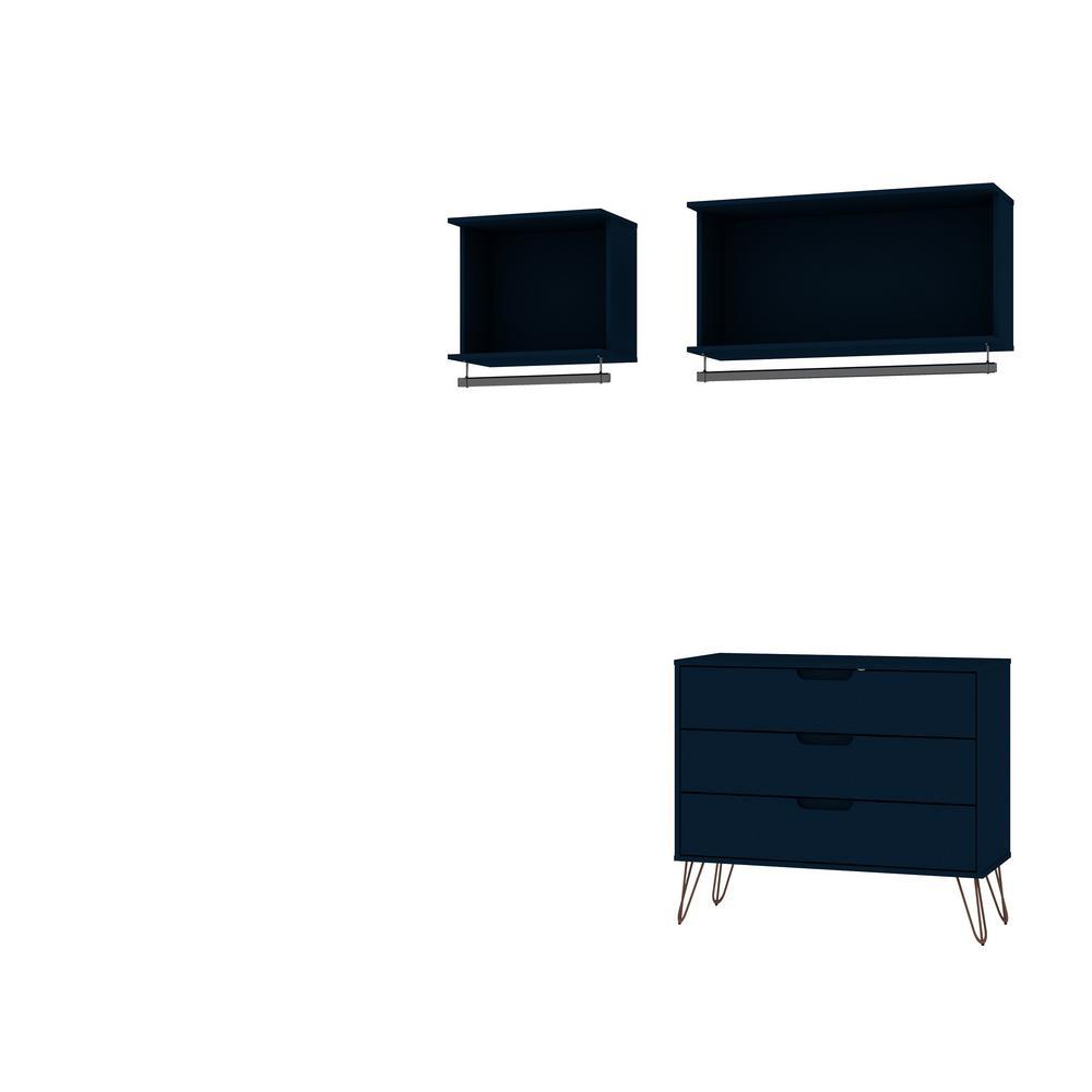 Rockefeller 3-Piece Tatiana Midnight Blue Full Open Closet Wardrobe Set