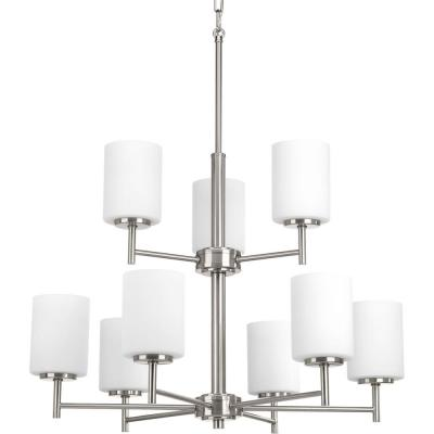 Replay 9-Light Brushed Nickel Chandelier with Etched Fluted Glass Shade