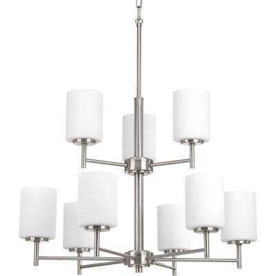 Minimalist chandeliers lighting the home depot replay 9 light brushed nickel chandelier with etched fluted glass shade aloadofball Choice Image