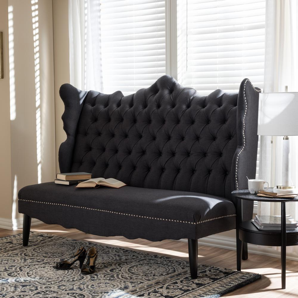 Witherby Traditional Gray Fabric Upholstered Loveseat