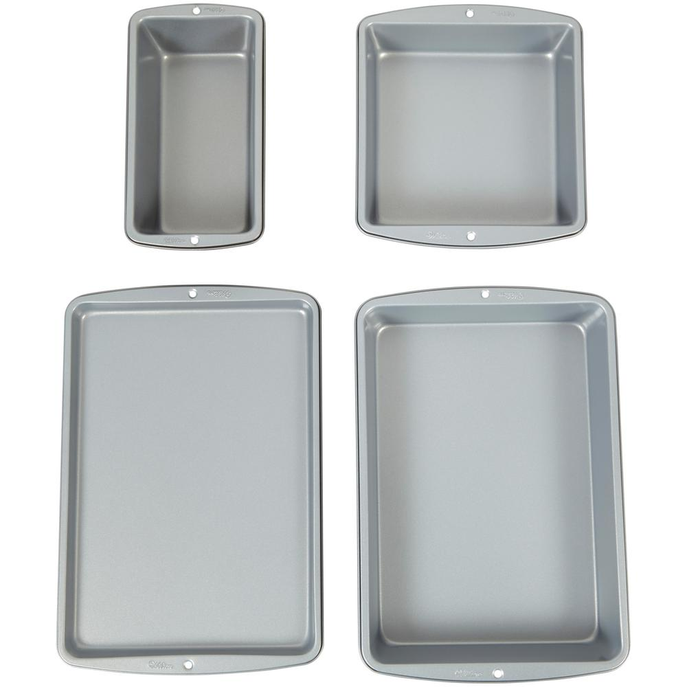 WILTON Wilton Recipe Right 4-Piece Bakeware Set, Silver