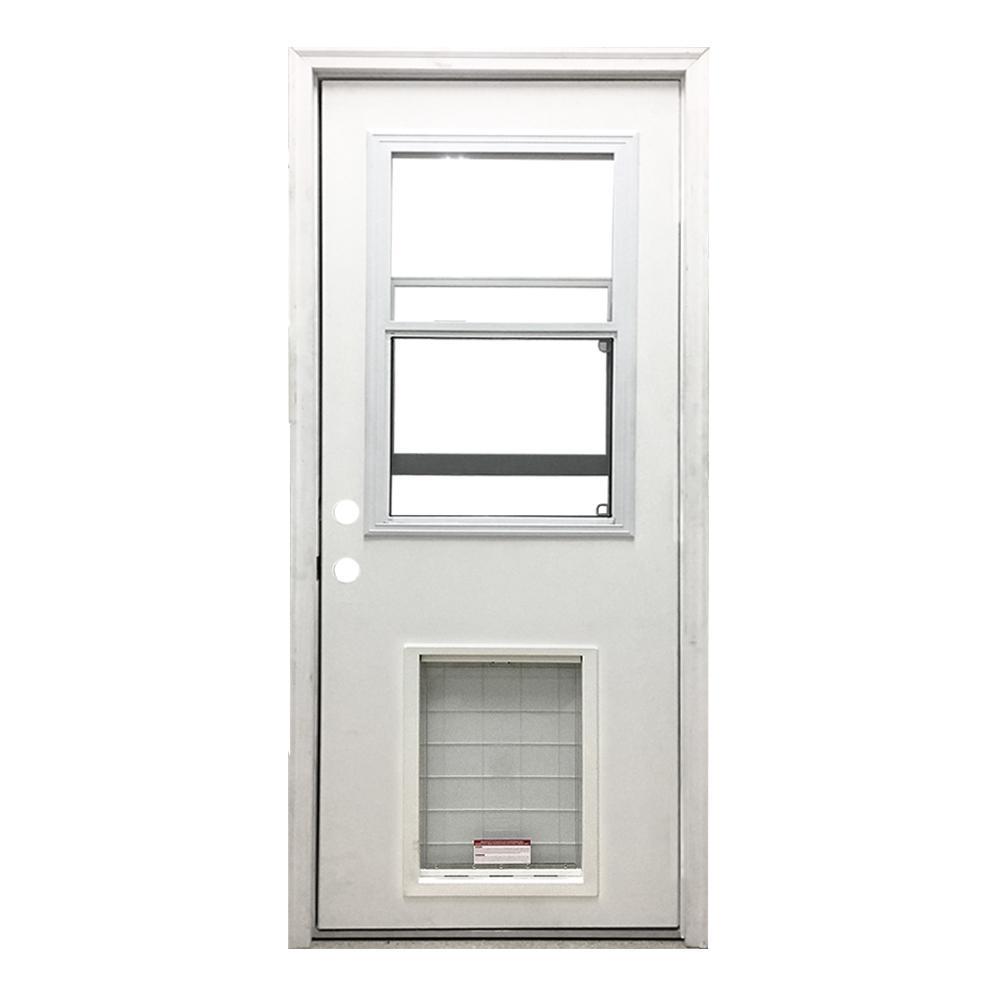 30 in. x 80 in. Classic Clear Vented Half Lite RHIS White Primed Fiberglass Prehung Front Door with SL Pet Door